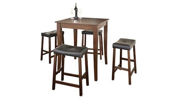 Dining Tables & Sets Crosley  5 Piece Pub Dining Set with Cabriole Leg and Upholstered Saddle Stools