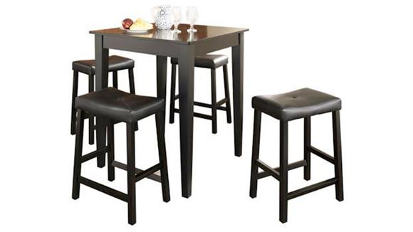 Dining Tables & Sets Crosley  5 Piece Pub Dining Set with Tapered Leg and Upholstered Saddle Stools