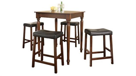Dining Tables & Sets Crosley  5 Piece Pub Dining Set with Turned Leg and Upholstered Saddle Stools