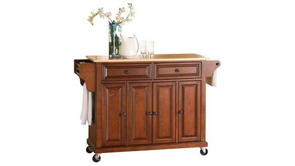Kitchen Carts Crosley  Natural Wood Top Kitchen Cart
