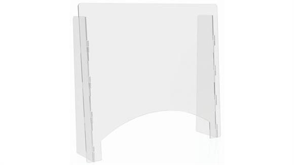 """Covid19 Office Sneeze Guards Deflecto Countertop Barrier with Pass Thru - 27""""W x 24""""H"""