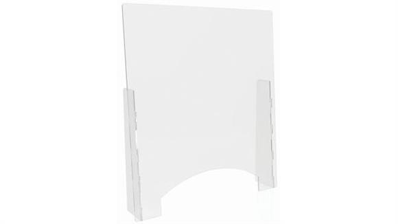 """Covid19 Office Sneeze Guards Deflecto Countertop Barrier with Pass Thru - 31-3/4""""W x 36""""H"""