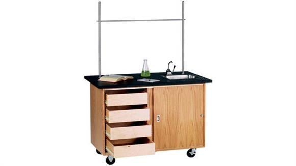 Science & Lab Tables Diversified Woodcrafts Mobile Demo Table with Drawers