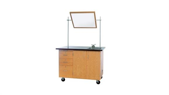 Science & Lab Tables Diversified Woodcrafts Mobile Desk with Storage