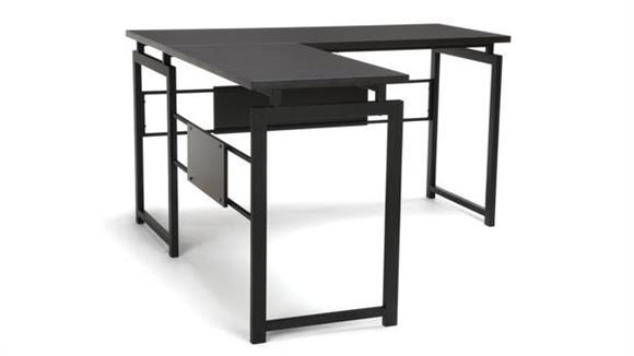 L Shaped Desks OFM Essentials L-Shaped Desk with Metal Leg