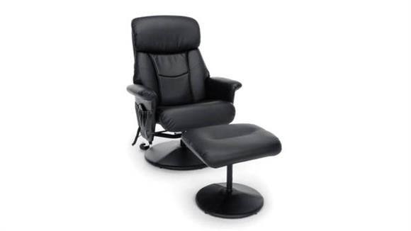 Massage Chairs Essentials Heated Shiatsu Massage Leather Recliner and Ottoman