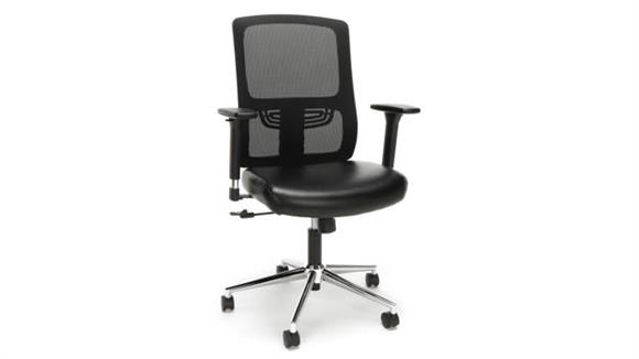 Office Chairs Essentials Mesh Back Leather Task Chair