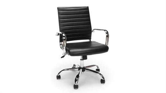 Office Chairs OFM Essentials Ribbed Leather Exective Chair