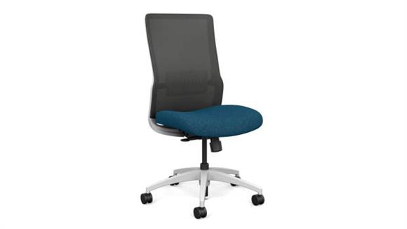 Office Chairs Sit On It Armless High Back Task Chair with White Base