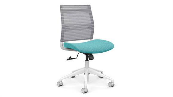 Office Chairs SitOnIt Mid Back Armless Task Chair with White Base