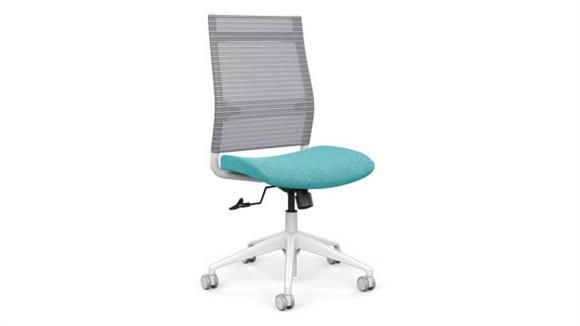 Office Chairs SitOnIt High Back Armless Task Chair with White Base