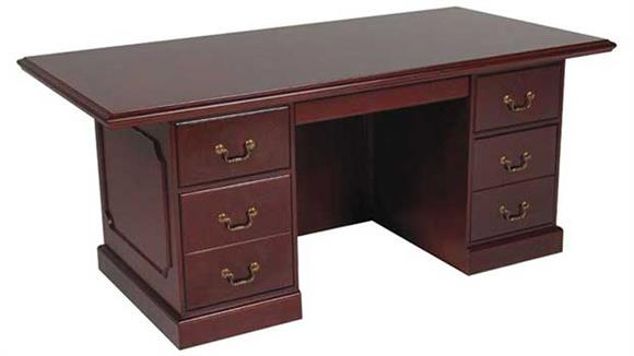 "Executive Desks Furniture Design Group 72"" x 36"" Double Pedestal Veneer Executive Desk"