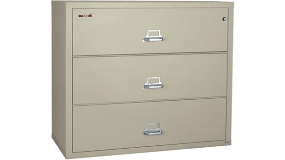 "File Cabinets Lateral FireKing 3 Drawer 44""W Fireproof Lateral File"