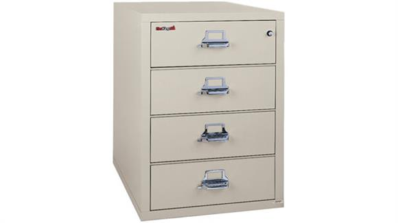 File Cabinets Vertical FireKing 4 Drawer Card and Check File with 3 Section Inserts