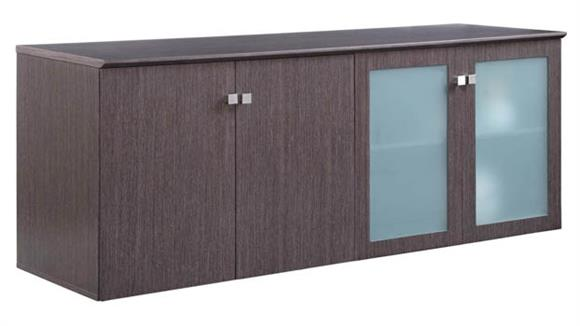"""Storage Cabinets Forward Furniture 72""""W x 24""""D Low Wall Storage Cabinet with Wood/Glass Doors"""