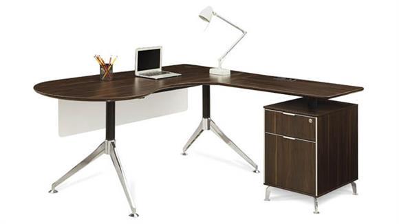"""L Shaped Desks Forward Furniture 71""""W Curved Collaboration L-Desk"""