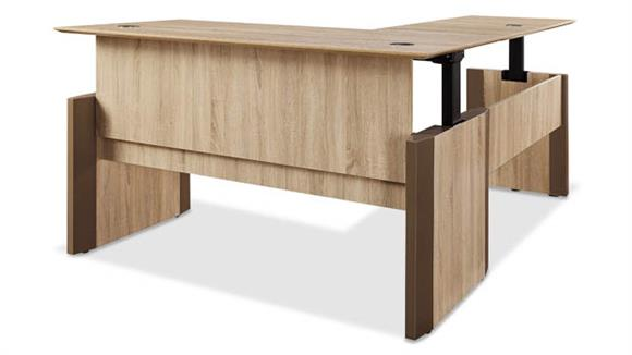 "Adjustable Height Desks & Tables Forward Furniture 72""W x 84""D   L-Desk Full Surface Height Adjustable & Reversible"