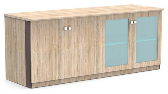 "Storage Cabinets Forward Furniture 72""W x 24""D Low Wall Storage Cabinet with Wood/Glass Doors"