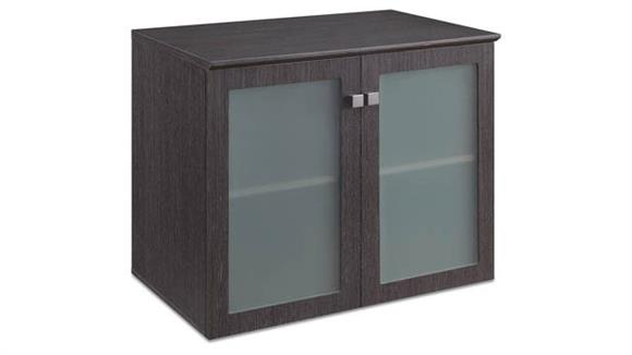 "Storage Cabinets Forward Furniture 36""Wx 24""D Low Wall Storage Cabinet with Glass Doors"