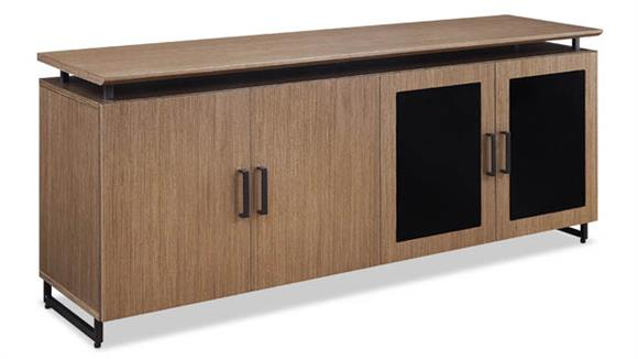 "Storage Cabinets Forward Furniture 72""W x 20""D Low Wall Storage Cabinet with Wood/Glass Doors"