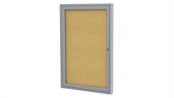 "Bulletin & Display Boards Ghent 24"" x 18"" One Door Satin Aluminum Frame Enclosed Tackboard"