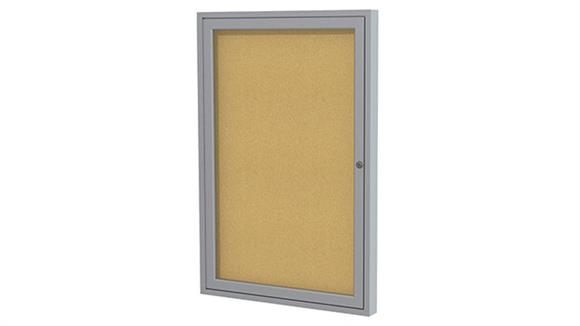 "Bulletin & Display Boards Ghent 36"" x 30"" One Door Satin Aluminum Frame Enclosed Tackboard"
