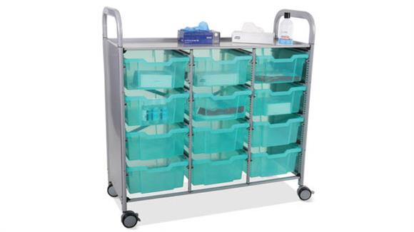 Covid19 Office Solutions Gratnells Triple Sanitation and Personal Protective Equipment Distribution Cart