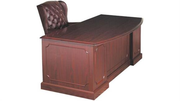 "Executive Desks High Point Furniture 72"" Double Pedestal Bow Front Desk"
