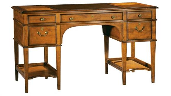 Executive Desks Hekman Furniture Leather Top Wood Leg Desk