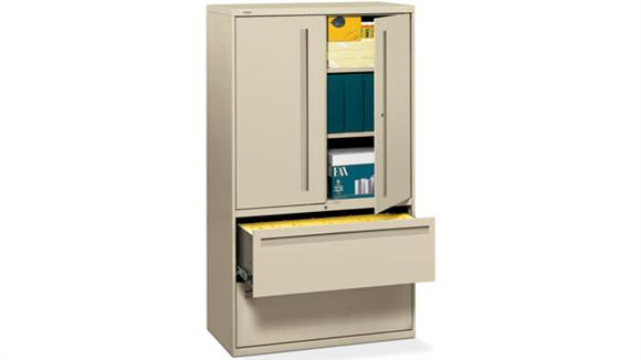 """File Cabinets Lateral HON 36""""W 2 Drawer Lateral File with Binder Storage"""