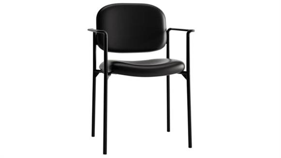 Stacking Chairs HON Stacking Leather Guest Chair with Arms