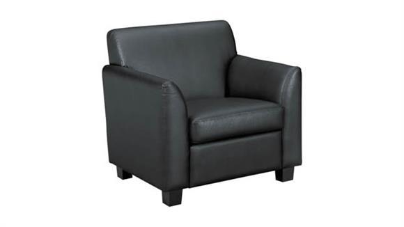 Club Chairs HON Tailored Black Leather Club Chair