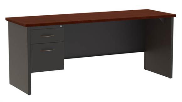 "Office Credenzas Hirsh Industries 24"" x 72"" Left Hand Single Pedestal Credenza"