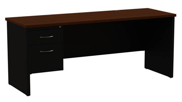 "Office Credenzas Hirsh Industries 24"" x 72"" Left Hand Single Pedestal Credenza"