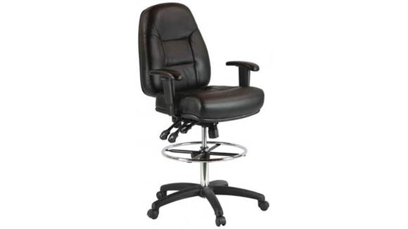 Drafting Stools Harwick Chairs Premium Leather Drafting Chair with Arms