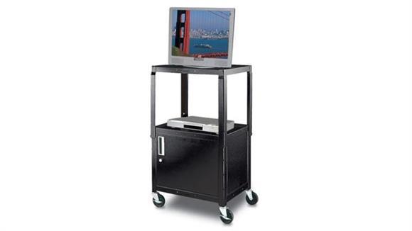 AV Carts H Wilson Black Steel Utility Cart with Cabinet