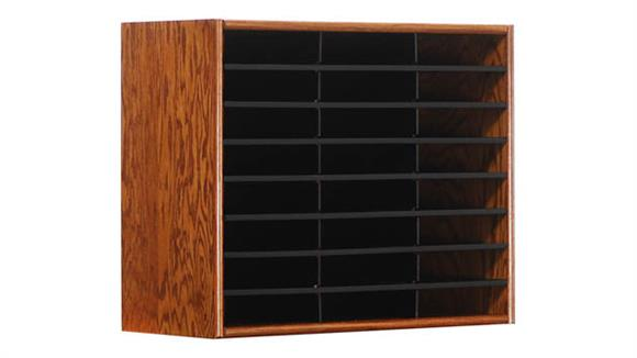 Magazine & Literature Storage Concepts in Wood 24 Compartment Literature Organizer