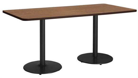 """Cafeteria Tables KFI Seating 30"""" x 72"""" Breakroom Table, Counter Height, Round Base"""