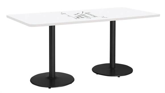 "Activity Tables KFI Seating 36""W x 84""D Rectangle Pedestal Table with Whiteboard Top & 29""H Round Base"