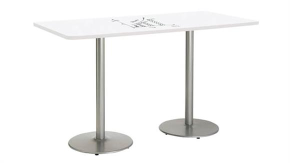"Activity Tables KFI Seating 36""W x 84""D Rectangle Pedestal Table with Whiteboard Top & 41""H Round Base"