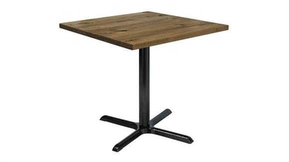 "Cafeteria Tables KFI Seating 36"" Square Vintage Wood Top Table"
