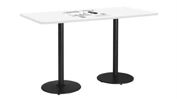 "Activity Tables KFI Seating 42""W x 72""D Rectangle Pedestal Table with Whiteboard Top & 41""H Round Base"