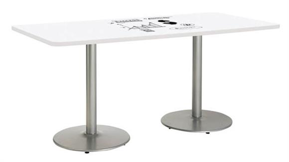 "Activity Tables KFI Seating 42""W x 72""D Rectangle Pedestal Table with Whiteboard Top & 29""H Round Base"