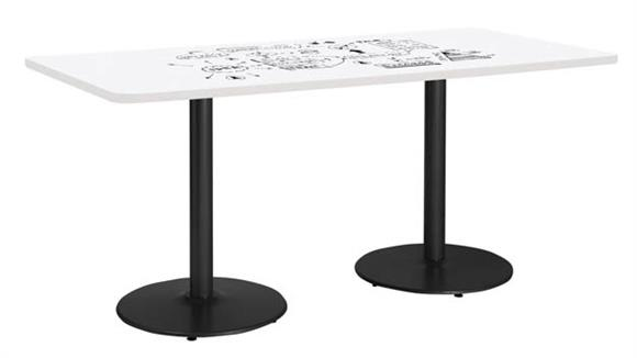 "Activity Tables KFI Seating 42""W x 84""D Rectangle Pedestal Table with Whiteboard Top & 29""H Round Base"
