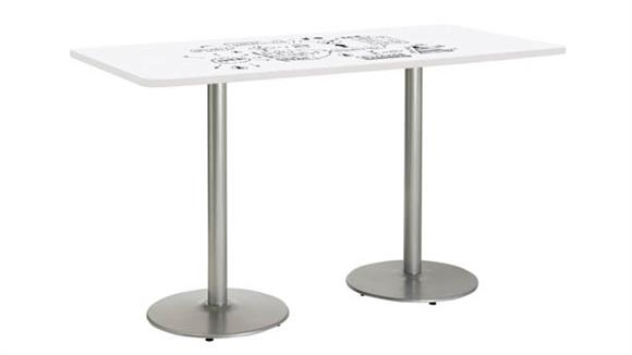 "Activity Tables KFI Seating 42""W x 84""D Rectangle Pedestal Table with Whiteboard Top & 41""H Round Base"