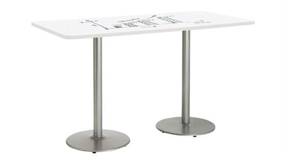 "Activity Tables KFI Seating 42""W x 96""D Rectangle Pedestal Table with Whiteboard Top & 41""H Round Base"