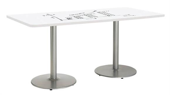 "Activity Tables KFI Seating 42""W x 96""D Rectangle Pedestal Table with Whiteboard Top & 29""H Round Base"
