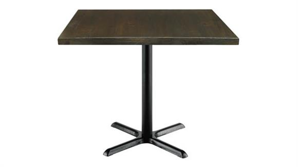 "Cafeteria Tables KFI Seating 42"" Square Vintage Wood Top Table"