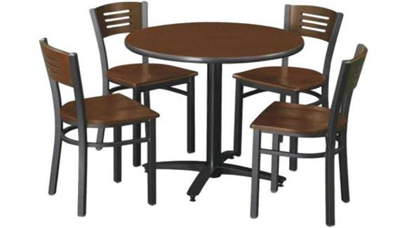 "Cafeteria Tables KFI Seating 36"" Round Table with 4 Chairs"