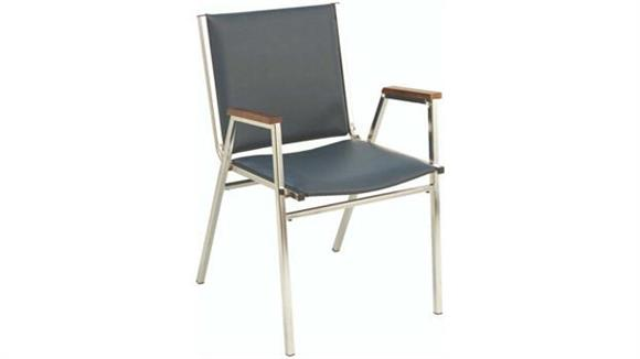 Stacking Chairs KFI Seating Vinyl Stack Chair with Arms and Chrome Frame
